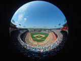 Fisheye View of Stadium from the Press Box at Dodger Stadium, Los Angeles, California Photographic Print