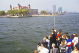 Tourists in Boat Viewing Ellis Island National Park, New York City, New York Photographic Print