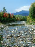 Creek with Mt. Washington in Background in Autumn, New Hampshire Photographic Print