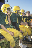 Micro-League Football Players, Aged 8 to 11 Sitting on Bench During Game, Plainfield, CT Photographic Print