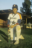 Young Hispanic Baseball Player Posing with Trophy, Los Angeles, CA Photographic Print