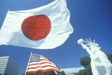 Japanese and American Flags, Little Tokyo, Los Angeles, California Photographic Print