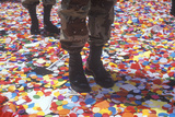 Soldiers' Boots Standing in Confetti, New York City, New York Photographic Print