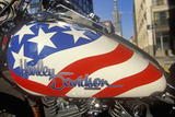 A Red White and Blue Harley Davidson Motorcycle in Chicago, Illinois Photographic Print