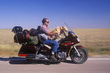 A Motorcyclist with His Dog Cruising on the Interstate Highway in South Dakota Photographic Print