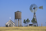 Windmill and Abandoned Prairie Church, Wy Photographic Print