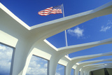 American Flag Flying over USS Arizona Memorial Museum, Pearl Harbor, Oahu, Hawaii Photographic Print