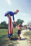 Uncle Sam on Stilts Shaking Girl's Hand, Salina, Kansas Photographic Print