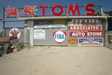 Old Antique Gas Signs of on Automobile Shop Near Barstow, CA Off of Route 58 Photographic Print