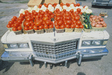 Vegetable Stand on a Cadillac Photographic Print