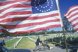 American Flags and Visitors at Los Angeles Cemetery, California Photographic Print