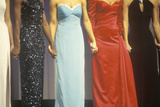 Beauty Pageant Contestants Wearing Gowns and Holding Hands Photographic Print
