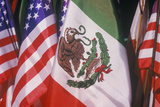 Mexican and American Flags, May 5Th, Olvera Street, Los Angeles, California Photographic Print