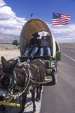 Mule Team and Wagon on Freeway Near Bishop, CA Photographic Print