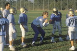 Junior League Football Practice with Team Members and Coach, Brentwood, CA Photographic Print