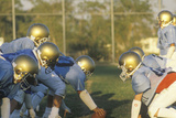 Junior League Football Practice with Team Members on Scrimmage Line, Brentwood, CA Photographic Print