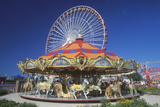 Merry Go Round and Ferris Wheel, Navy Pier, Chicago, Illinois Photographic Print