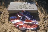 Tombstone and American Flag at the Cemetery, Fort Defiance, Arizona Photographic Print