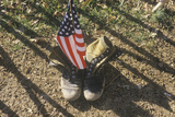 American Flag Between Two Army Boots, Washington, D.C. Photographic Print