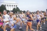 Runners Going by Lincoln Memorial, Washington Memorial, Washington, D.C. Photographic Print