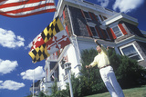 Man Raising American and Maryland Flags, Cape May, New Jersey Photographic Print