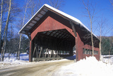 Covered Bridge Along Brook Road in Stowe, Vermont During the Winter Photographic Print