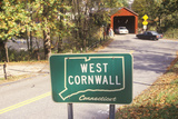 A Covered Bridge Along Scenic Route 7 in West Cornwall, Connecticut Photographic Print