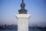 Bust of Alexander Hamilton in Nj with New York City Skyline in Background Photographic Print