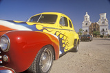 Hot Rod Sits in Front of Mission San Xavier Del Bac, Tucson, Arizona Photographic Print