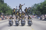 Motorcycle Police in Pyramid in July 4th Parade, Pacific Palisades, California Photographic Print