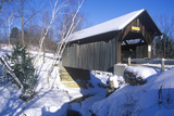 The Goldbrook Covered Bridge in Stowe, Vermont During the Winter Photographic Print