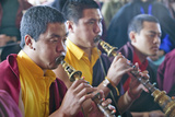 Tibetan Monks with Horns at Amitabha Empowerment Buddhist Ceremony, Meditation Mount in Ojai, CA Photographic Print