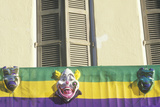Mardi Gras Masks on Balcony of Building, New Orleans, Louisiana Photographic Print
