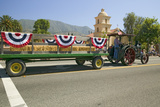Tractor Pulls Decorated Float Down Main Street During a Fourth of July Parade in Ojai, CA Photographic Print