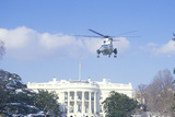 President Reagan Arriving at the White House in a Helicopter in Washington, D.C. Photographic Print