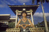 Woman Meditates at Shrine in Buddhist Cemetery in Maui Hawaii Photographic Print