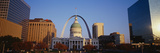 Skyline and Arch in Daylight. in the Center Is the Old Courthouse and a Statue in Front of It Photographic Print