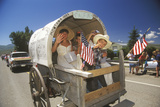 Covered Wagon in July 4th Parade, Lima, Montana Photographic Print