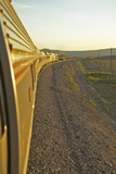 Passenger Train Traveling into the Arizona Sunset Photographic Print