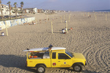 Yellow Lifeguard Truck on Volleyball Beach, Manhattan Beach, CA Photographic Print