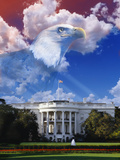 Digital Composite: the White House with American Eagle Lámina fotográfica