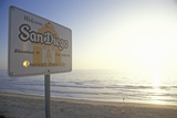 """Welcome to San Diego"" Sign Along the Pacific Ocean, San Diego, California Photographic Print"