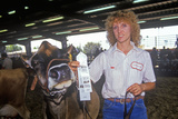 Ribbon Winner with Jersey/Holstein Cow, Los Angeles, County Fair, Pomona, CA Photographic Print
