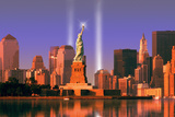 World Trade Center Light Memorial Behind Statue of Liberty Photographic Print