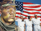 Digital Composite: American Soldier, Sailors and American Flag Photographic Print
