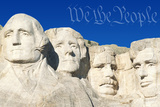 Digital Composite: Preamble to the U.S. Constitution and Mount Rushmore Photographic Print