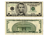 Front and Back Side of the New Five Dollar Bill Photographic Print