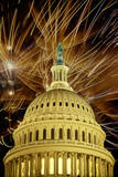 This Is the U.S. Capitol Dome at Night with Fireworks. it Is a Digitally Created Image Photographic Print