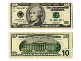 Front and Back Side of the New Ten Dollar Bill Photographic Print