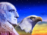 Profile of President George Washington and American Eagle Photographic Print